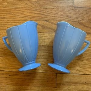Blue Colored Milk Glass Cream Pitcher set of 2